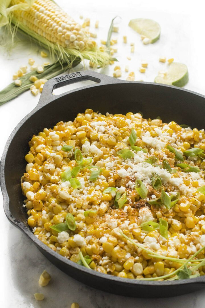Skillet Mexican Street Corn in a cast iron skillet