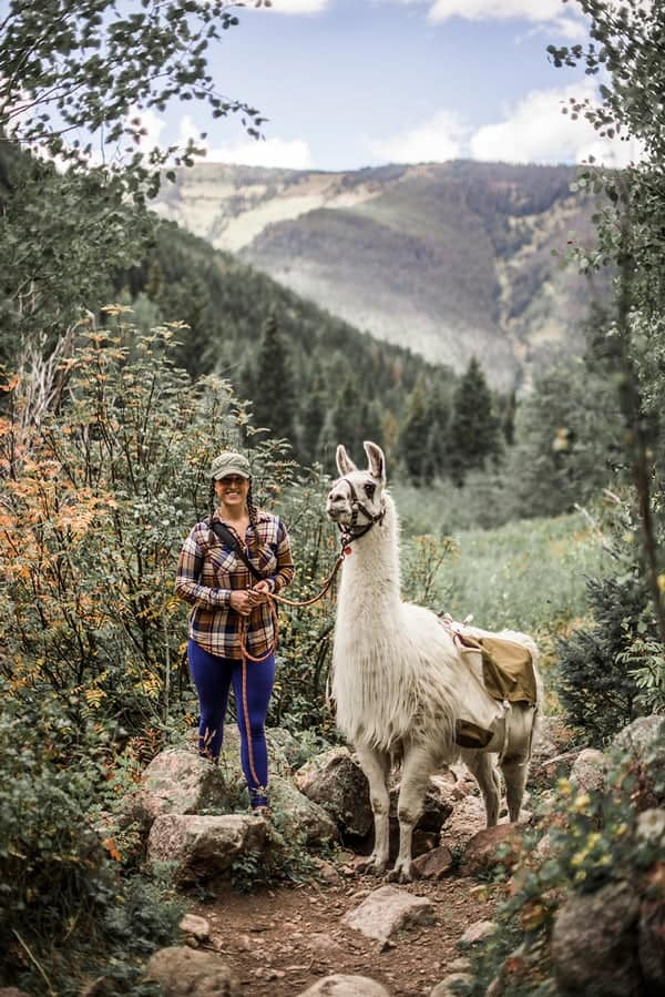 liz-and-the-llama-hiking-in-vail