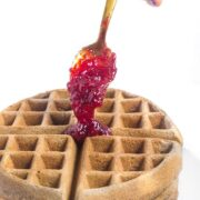 Buckwheat Belgian Waffles with Maple Cranberry Sauce
