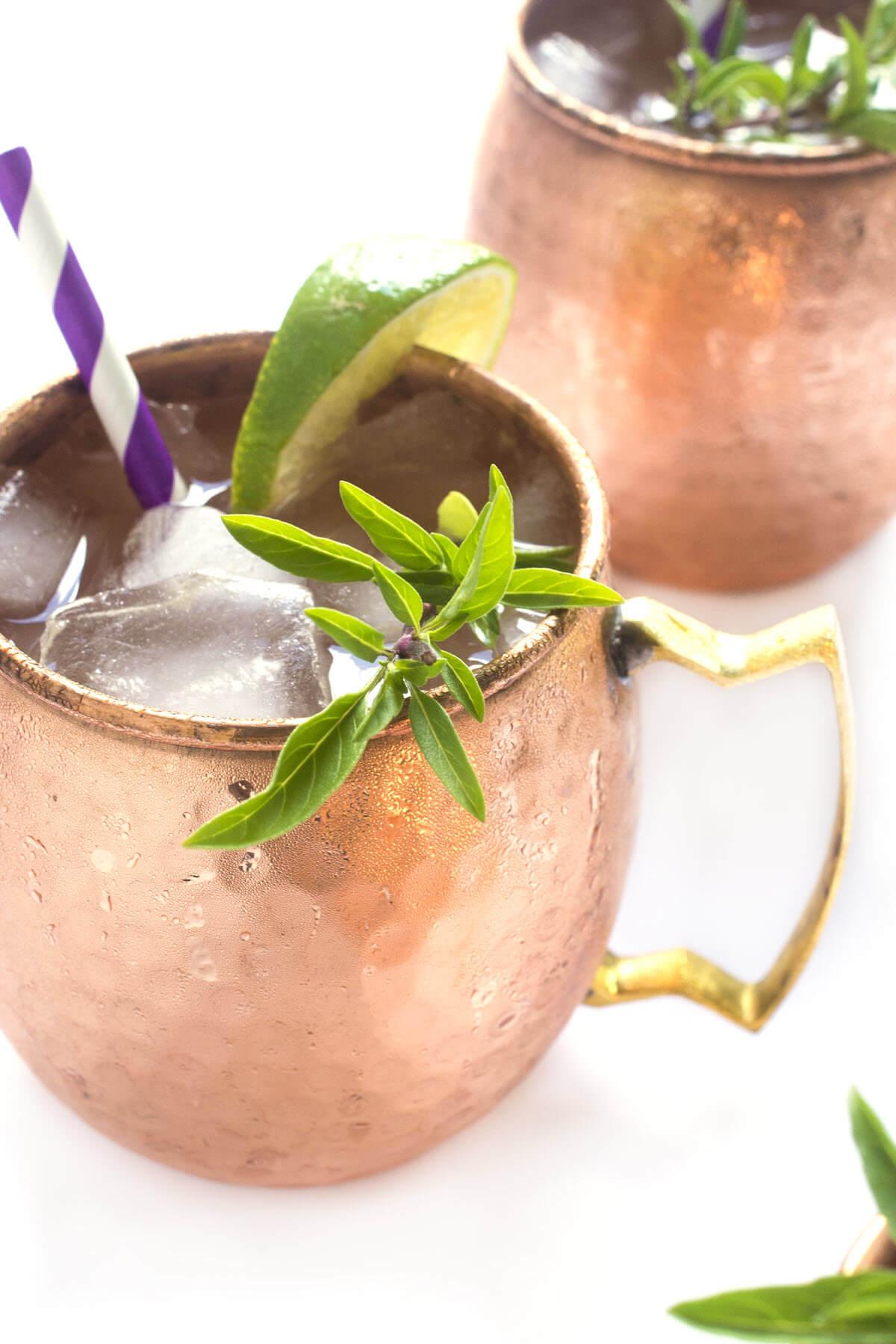 Tom Collins Drink In Copper Mug