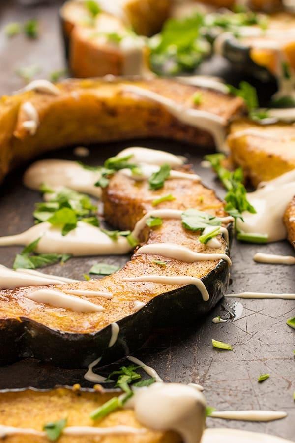 Roasted Acorn Squash with Tahini Sauce - a healthy side dish recipe