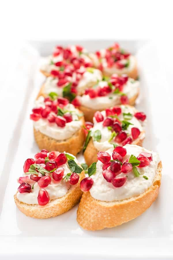 Roasted Garlic Whipped Feta Crostini - an easy party appetizer recipe