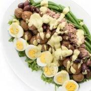 Tuna Nicoise Salad with Avocado Dressing - a healthy entree salad recipe