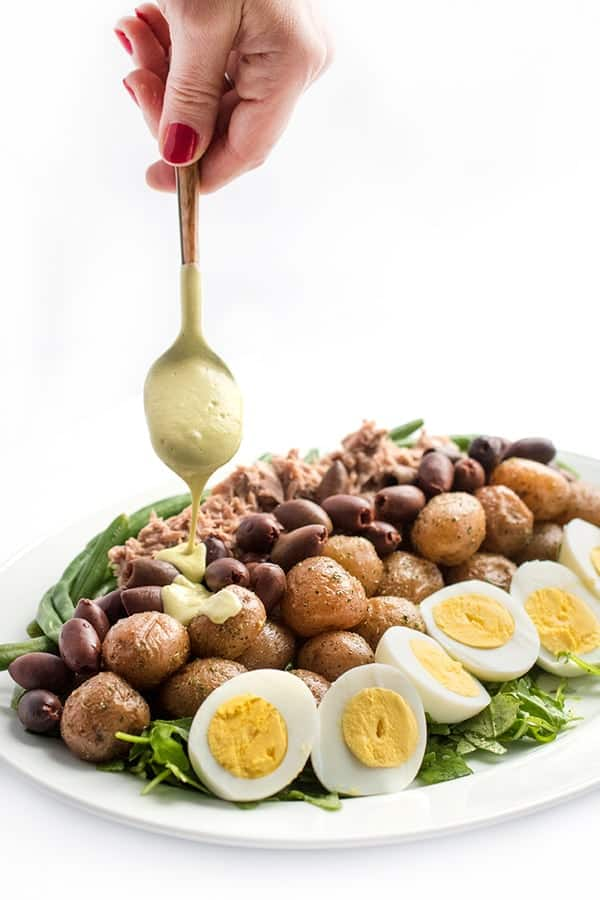 Tuna Nicoise Salad with Avocado Green Goddess Dressing - a healthy entree salad recipe