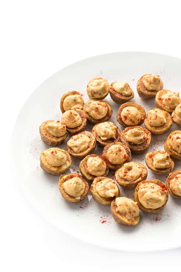 Chipotle Hummus Stuffed Potato Bites - an easy appetizer recipe