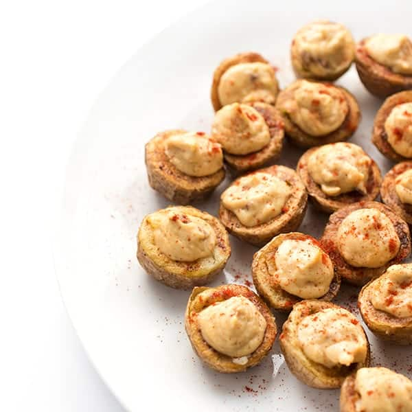 Chipotle Hummus Stuffed Potato Bites