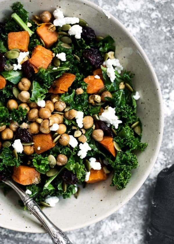 Roasted Sweet Potato Kale Salad - a healthy protein-packed lunch recipe