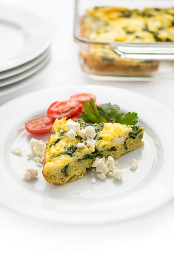 Greek Egg Bake with Spinach and Feta - a healthy low carb breakfast reciep