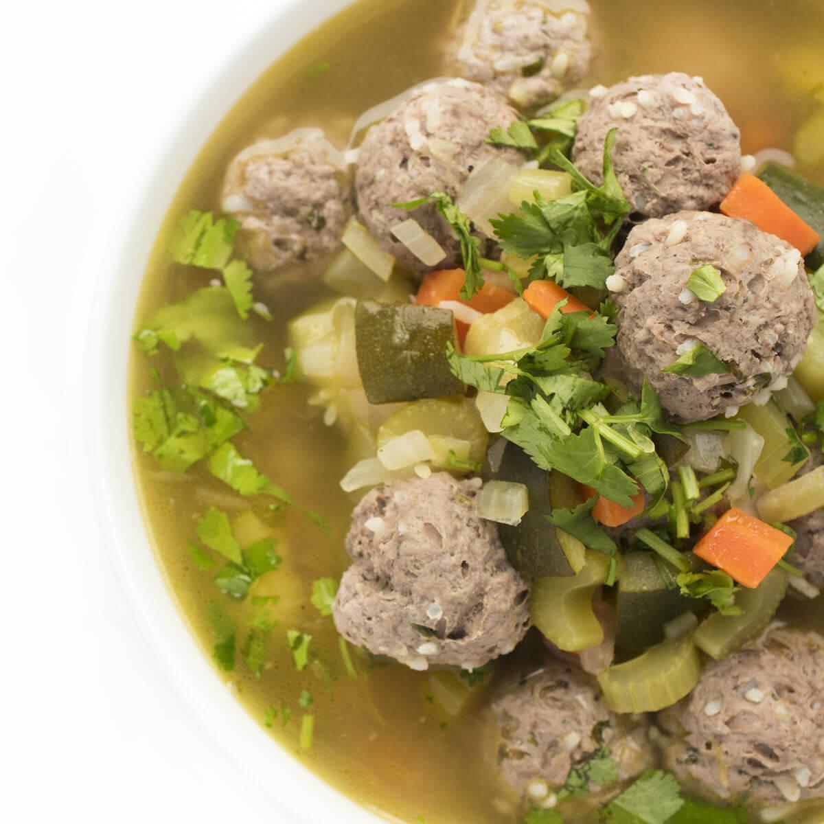 albondigas soup in a bowl