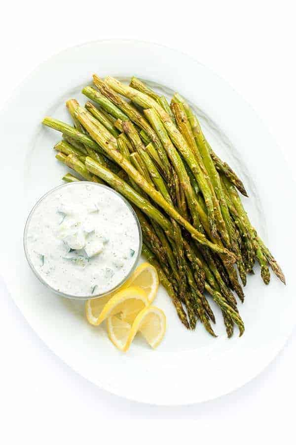 Roasted Asparagus with Tzatziki Sauce - a fast side dish recipe