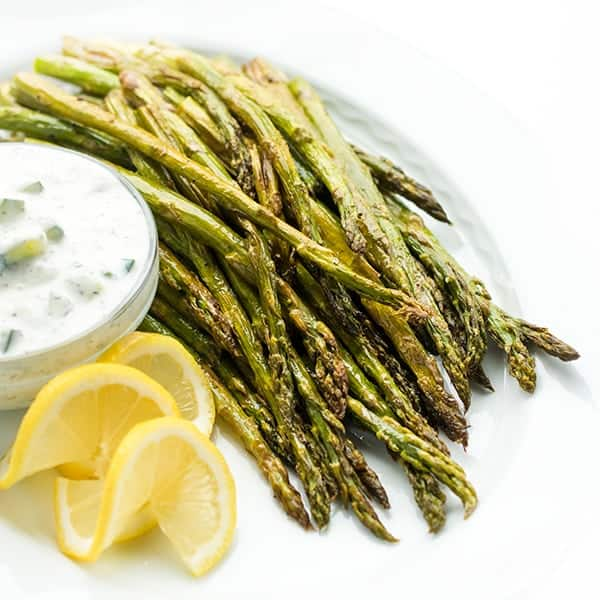 Roasted Asparagus with Tzatziki - a healthy side dish recipe
