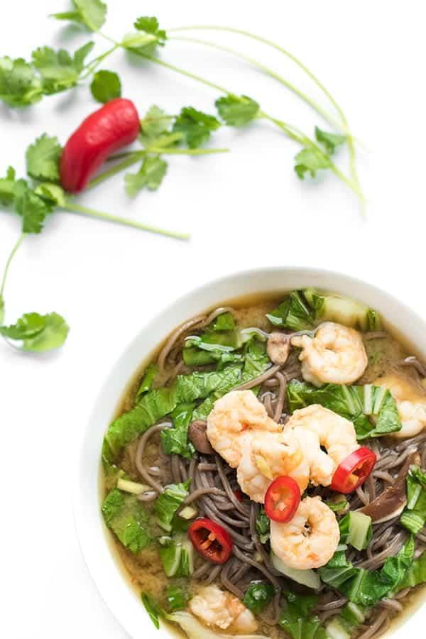 Soba Broth Bowls with Shrimp and Bok Choy