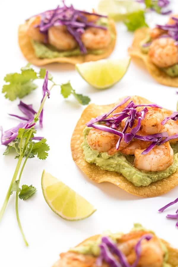 Shrimp Tostadas with Gaucamole - a healthy Mexican recipe