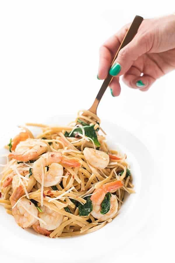 Lemony Shrimp Pasta with Greens - a healthy dinner recipe