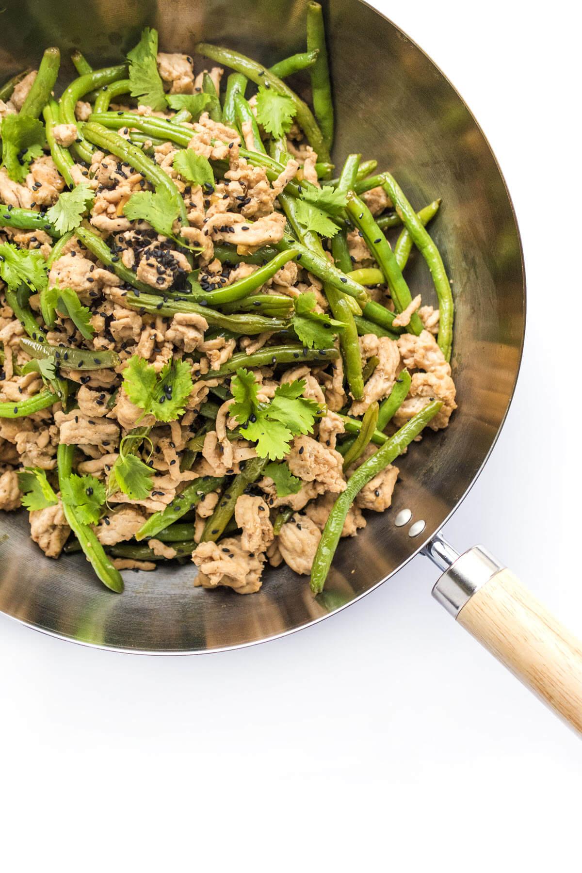 Szechuan Ground Turkey and Green Beans in a pan