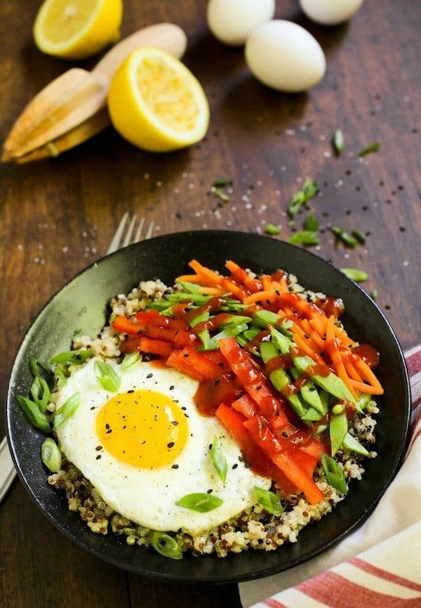 Lemon-Quinoa-and-Eggs-Bowls-with-Veggies-and-Sriracha_AFarmgirlsDabbles_AFD-600x900