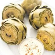 Steamed Artichokes with Tahini Dipping Sauce - a healthy side dish recipe