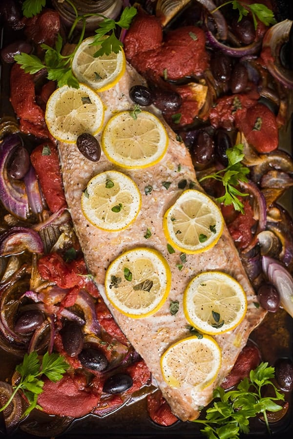 Roasted Salmon with Olives and Tomatoes
