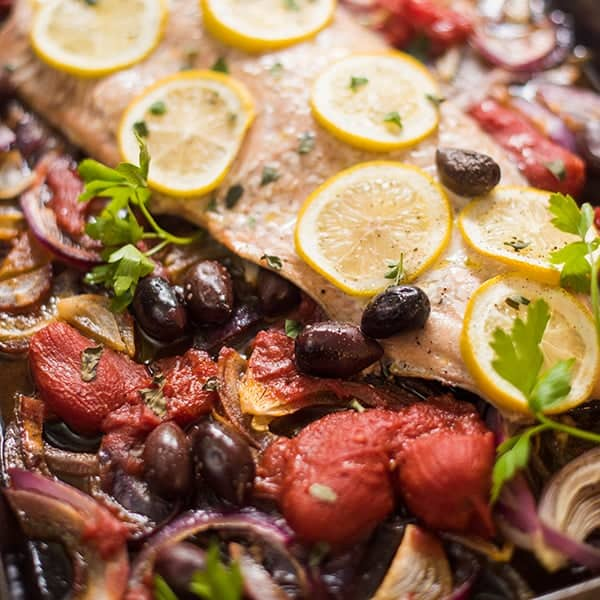 Sheet Pan Salmon with Tomatoes and Olives - The Lemon Bowl®