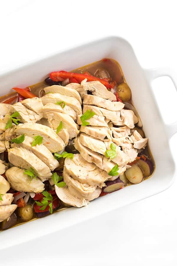 Slow Cooker Italian Chicken with Peppers and Potatoes