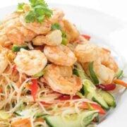 Thai Shrimp Rice Noodle Salad - an easy gluten free dinner recipe