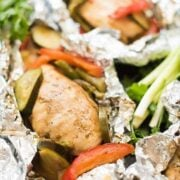 Grilled Chicken and Vegetable Packages with a Ginger Soy Vinaigrette