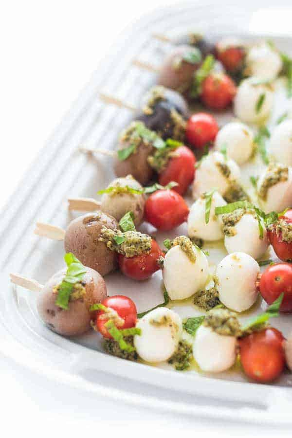Pesto Potato Caprese Skewers - an easy appetizer recipe