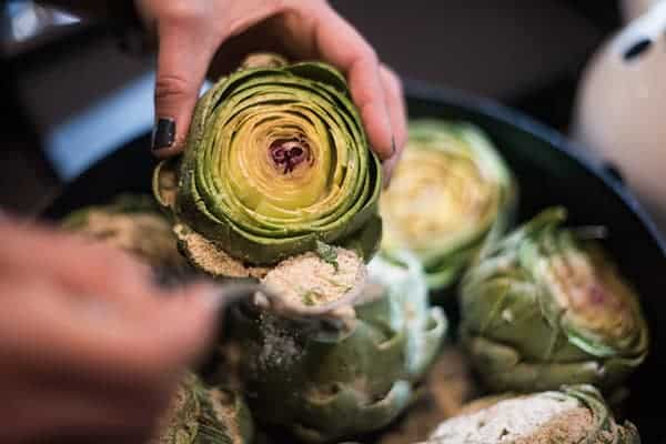 stuffing an artichoke