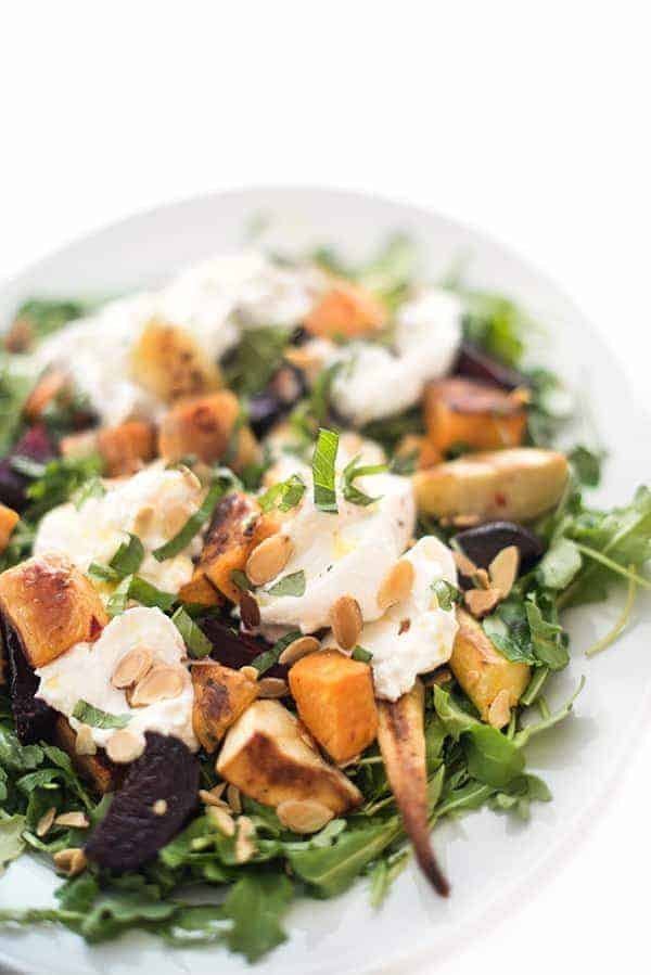Roastwed Root Vegetable Burrata Salad Recipe