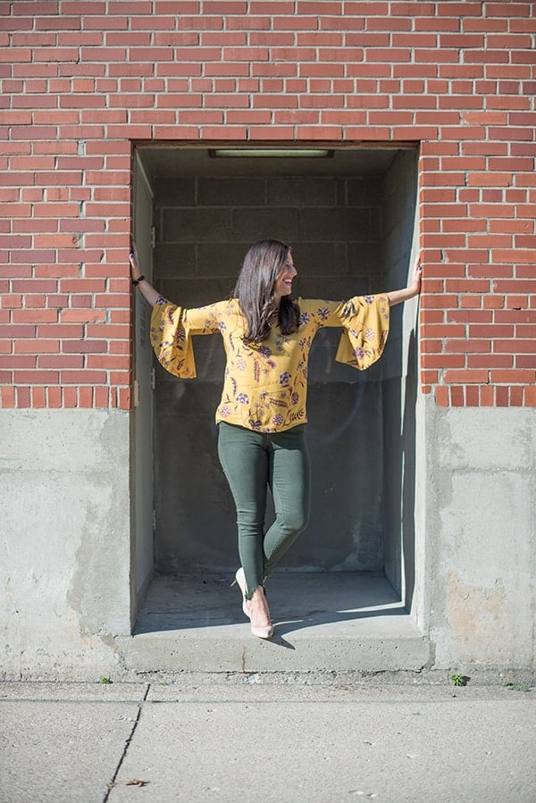 Ruffle Yellow Top with Green Pants