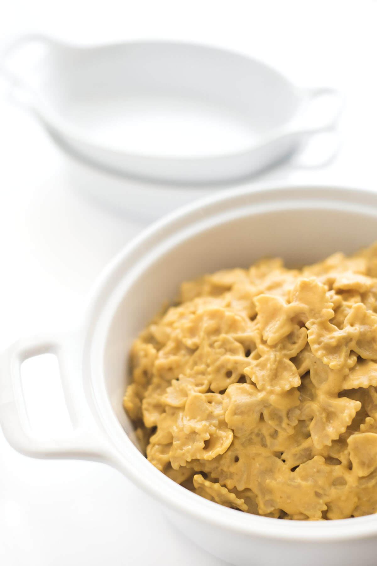pumpkin mac and cheese in a bowl