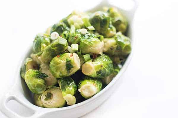 Steamed Brussels Sprouts with Lemon and Garlic - a fast side dish recipe