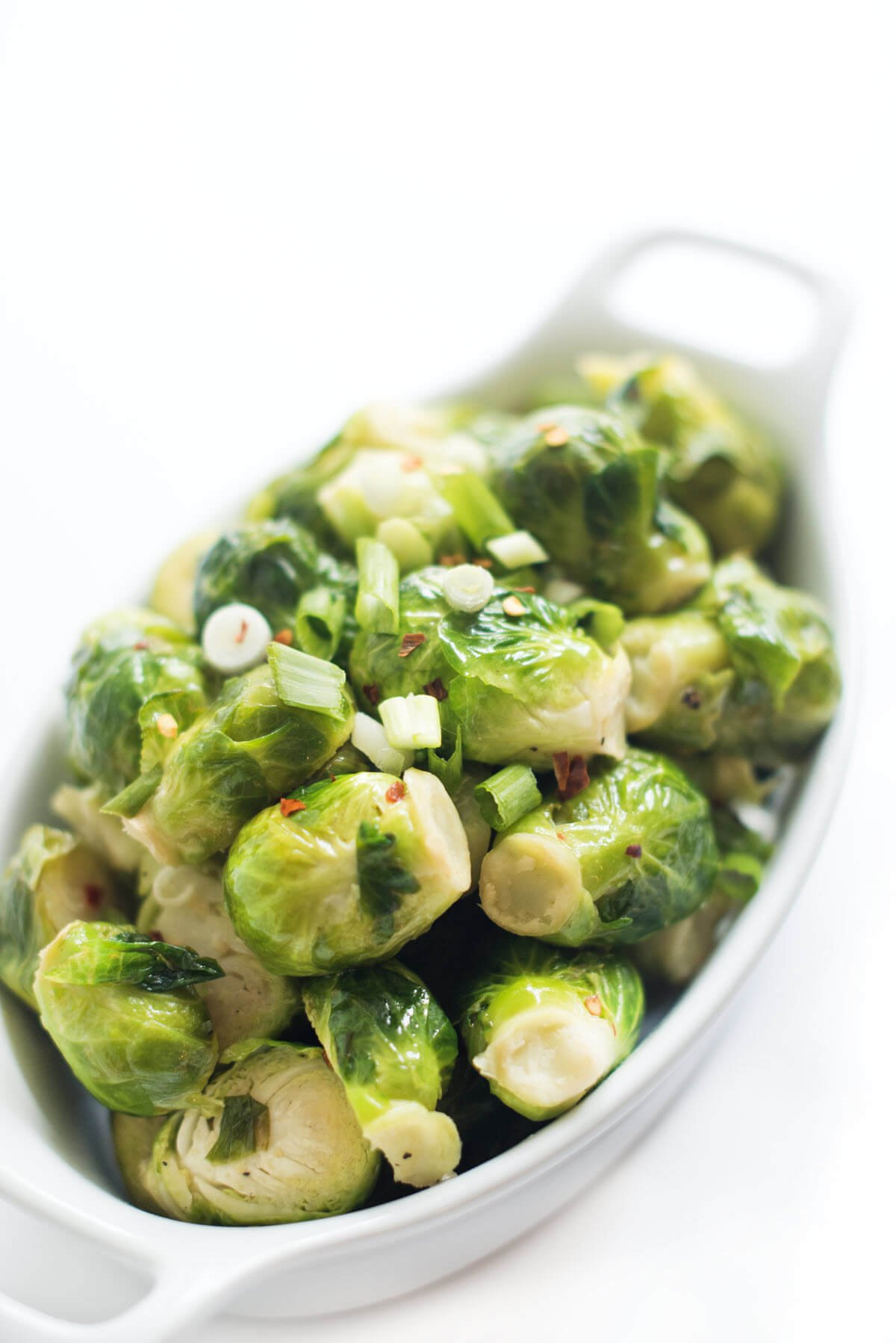 steamed brussels sprouts in a bowl