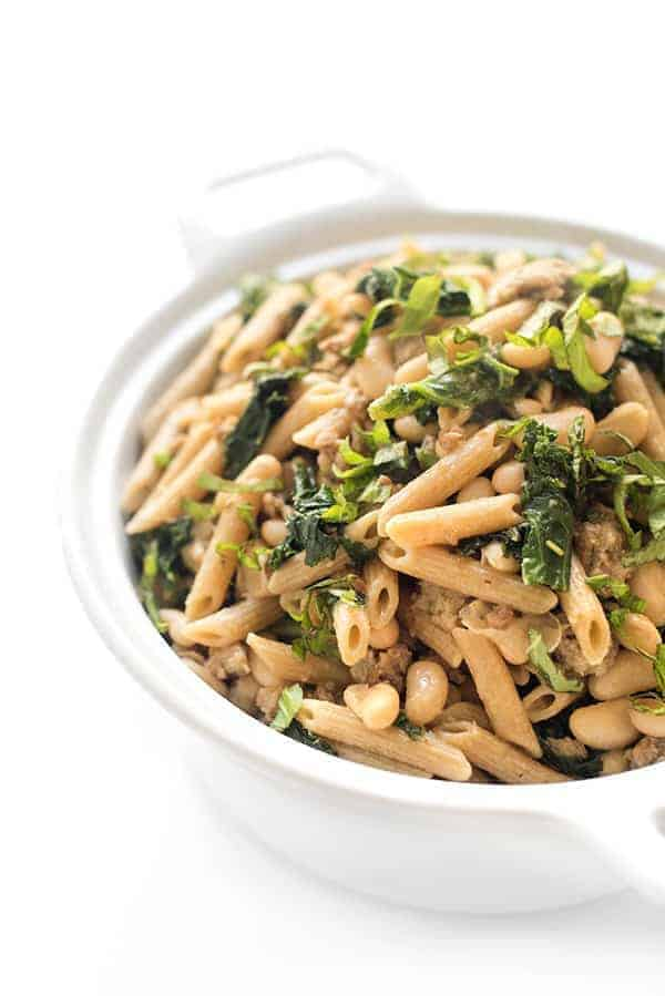 Sausage Kale and White Bean Pasta