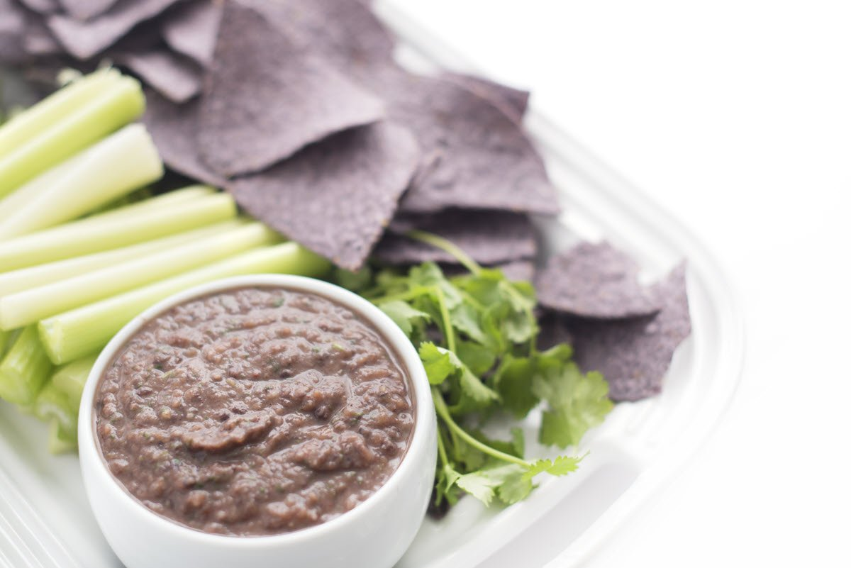 Black Bean Dip with celery and tortilla chips