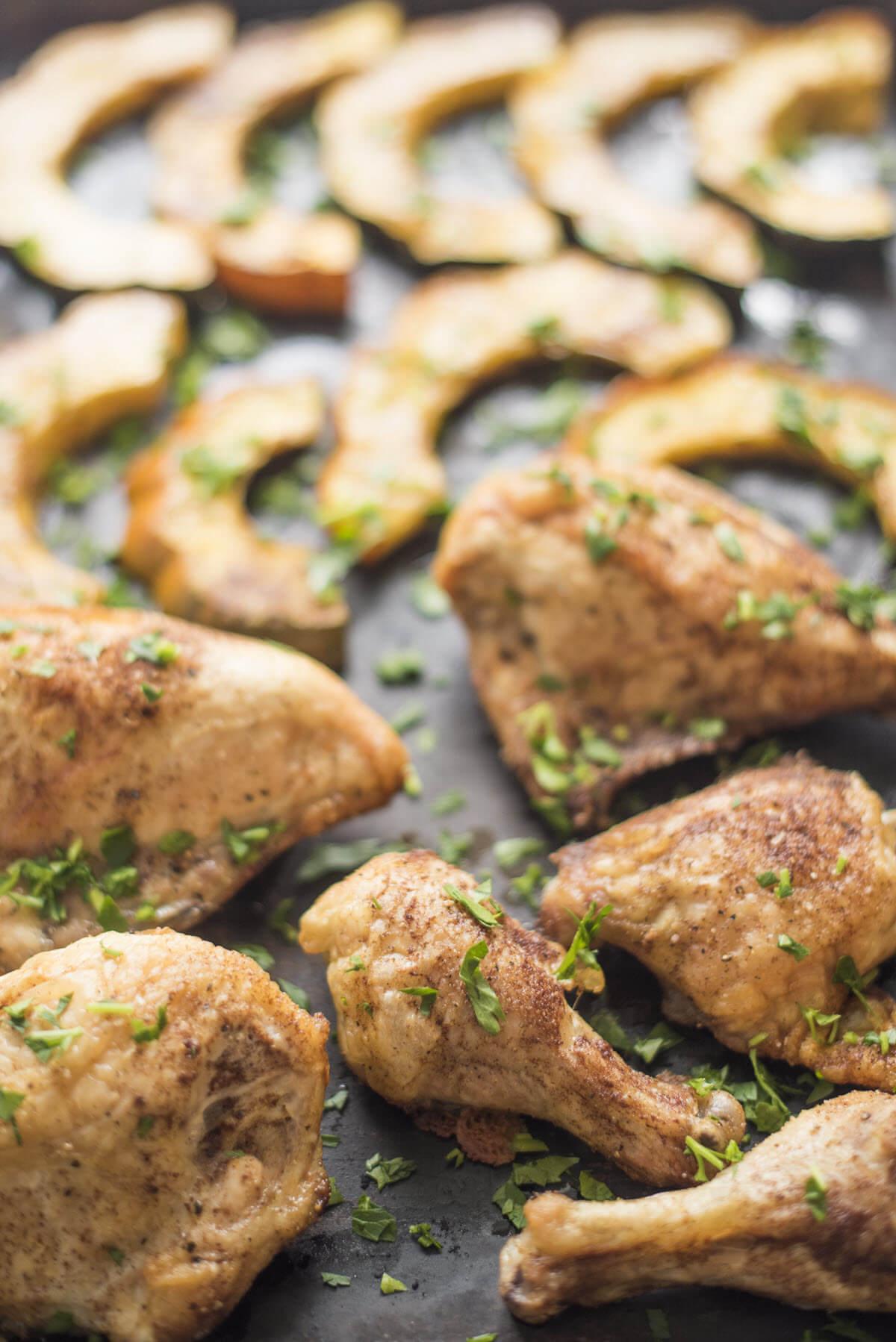 Chicken and Acorn Squash Sheet Pan Dinner