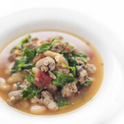 Sausage and Kale soup in a bowl