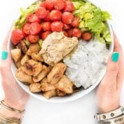 Chicken Tawook Bowls with Hummus and Yogurt Sauce Recipe