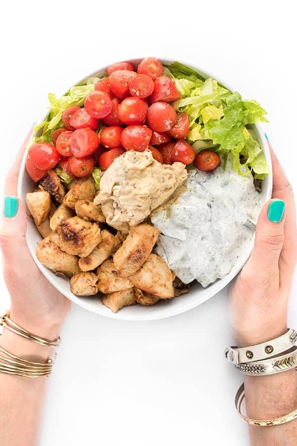 Chicken Tawook Bowls with Hummus and Yogurt Sauce Recipe