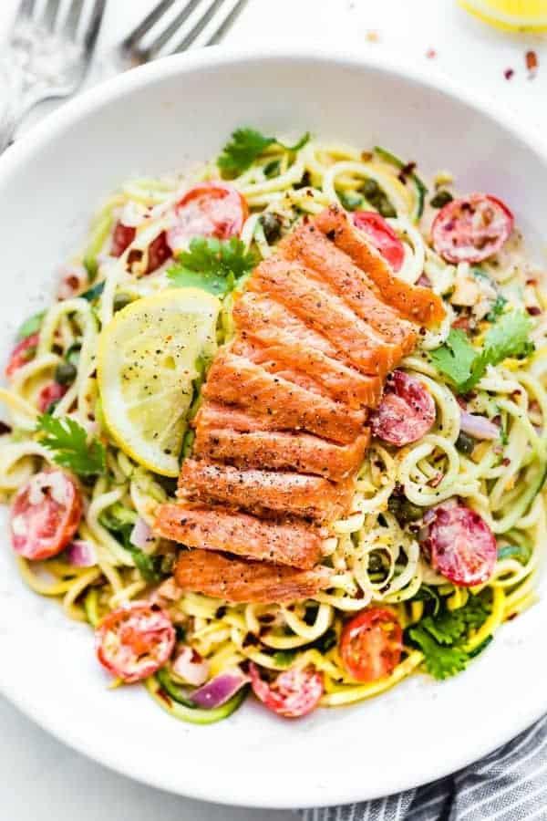 2-Cajun-Smoked-Salmon-Zoodles-Zucchini-Salad-Paleo