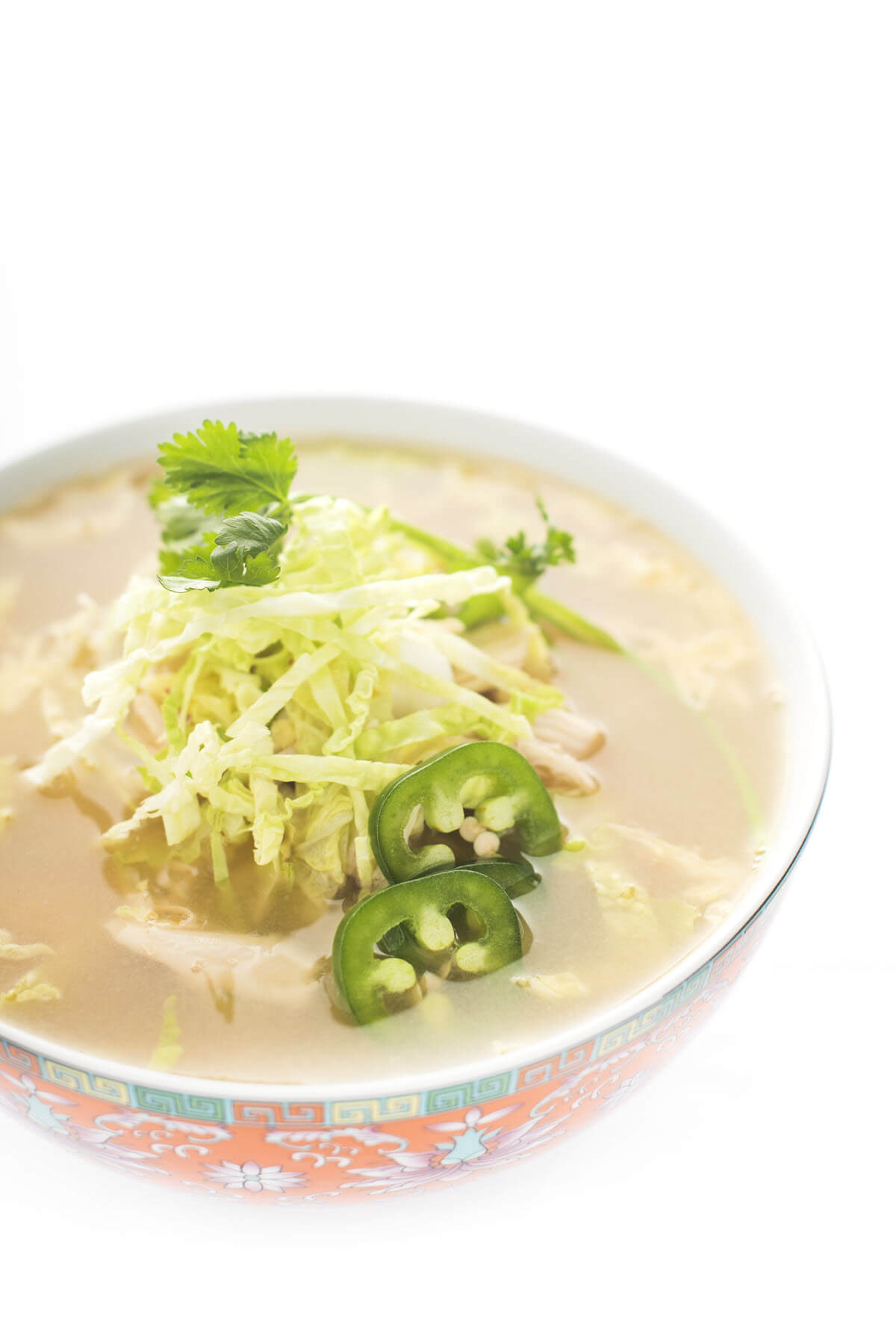 Asian Chicken Soup with Shredded Cabbage