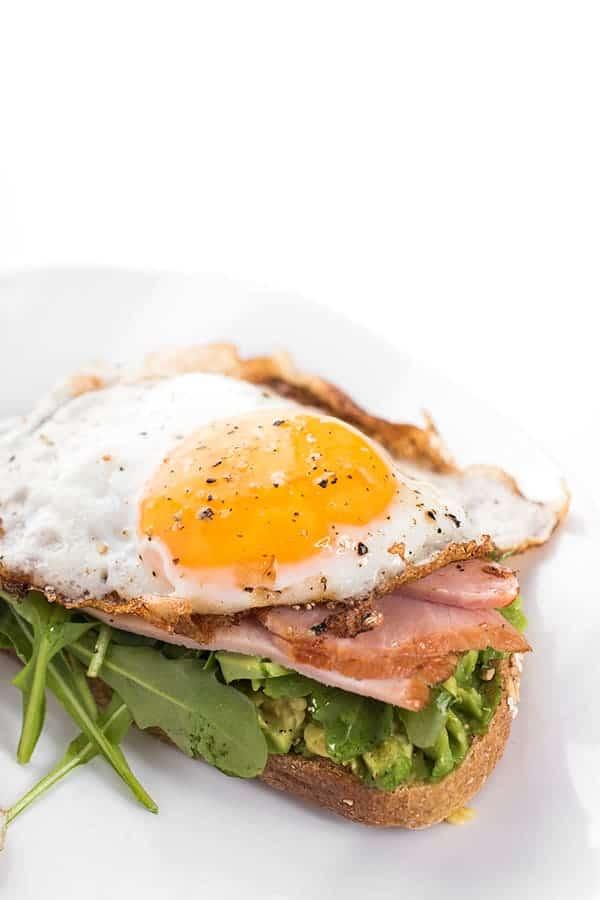 Open Faced Egg, Ham and Avocado Breakfast Sandwich Recipe