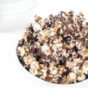 Peanut Butter Chocolate Drizzled Popcorn