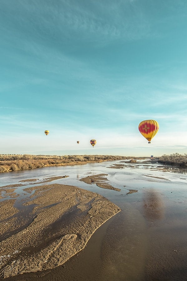 Hot Air Balloons over River