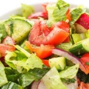 syrian salad with tomatoes onions and cucumbers