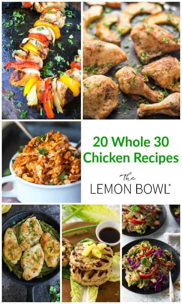 collage of chicken recipes that are whole30