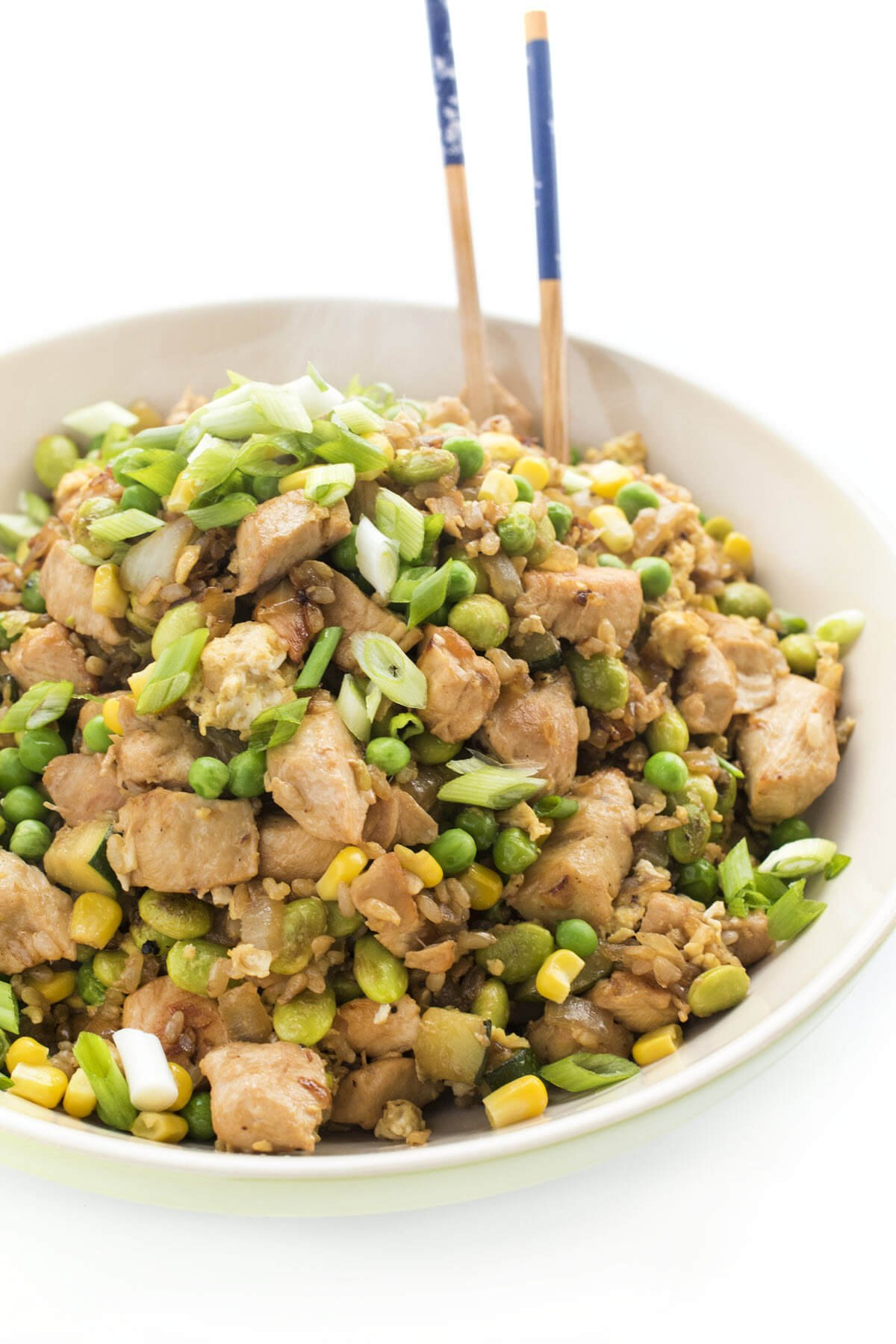 chicken and vegetable brown fried rice
