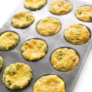 ham and cheese bakes egg cups in a muffin tin