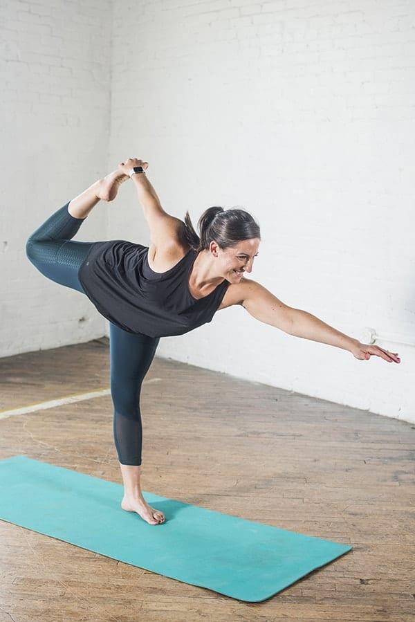 Liz Doing Dancer Yoga Pose
