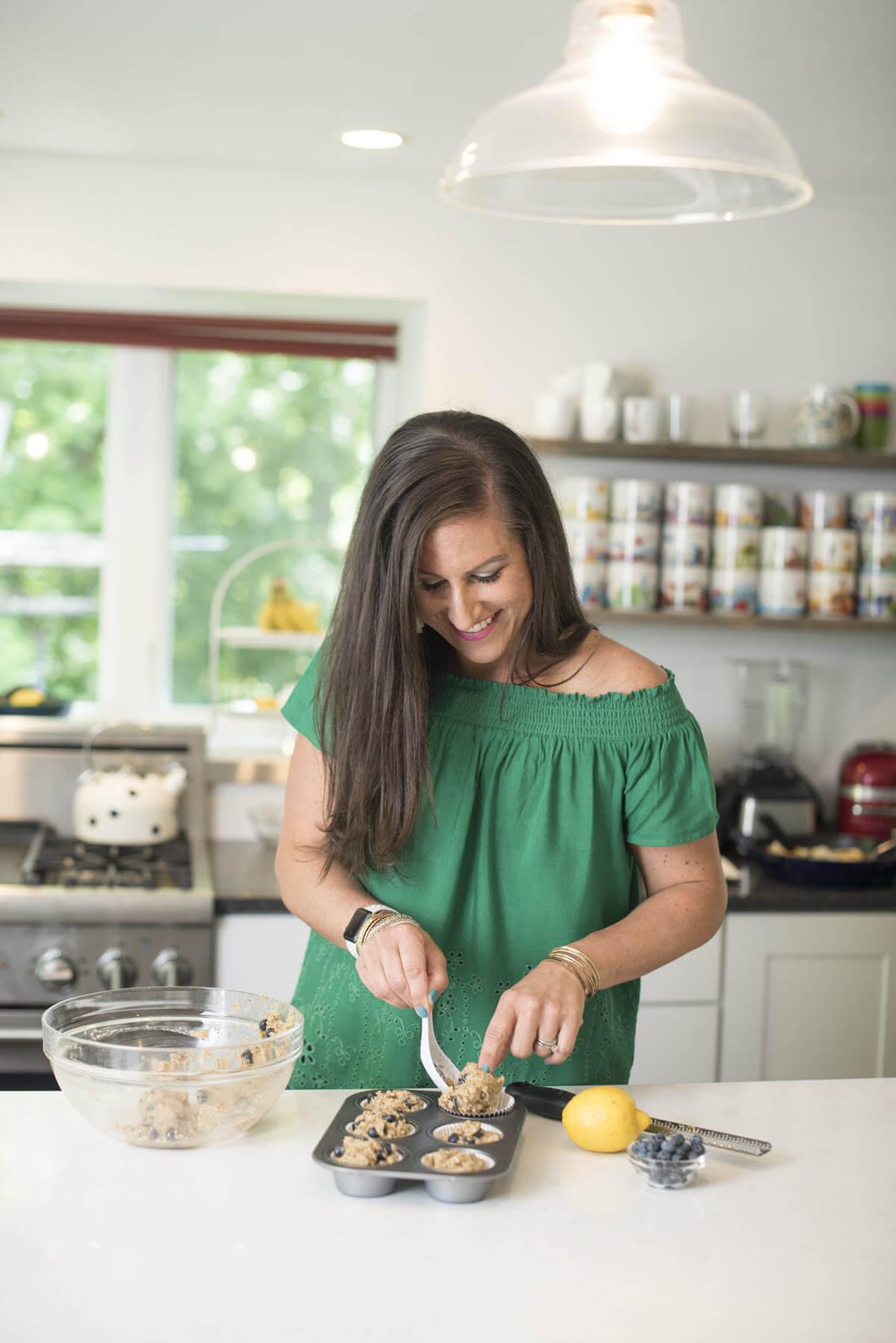 Liz making gluten-free muffins